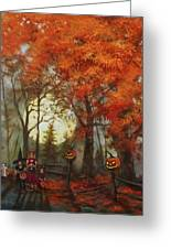 Full Moon On Halloween Lane Greeting Card by Tom Shropshire
