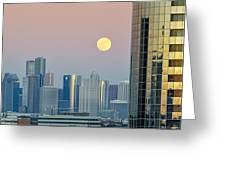 Full Moon Over Downtown Houston Skyline Greeting Card