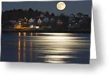 Full Moon Over Kennebec River Georgetown Island Maine Greeting Card