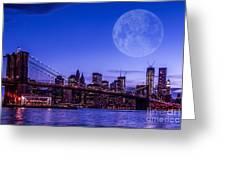 Full Moon Over Manhattan II Greeting Card