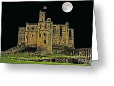 Full Moon Over Medieval Ruins Greeting Card