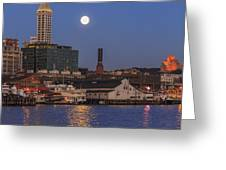 Full Moon Over Pioneer Square Greeting Card
