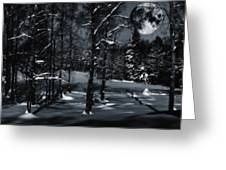 Full Moon Over Snowy Winter Landscape Greeting Card