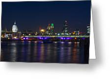 Full Moon Rise Behind St Pauls Greeting Card by Andrew Lalchan