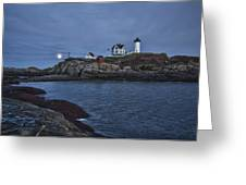 Full Moon Rise Over Nubble Greeting Card