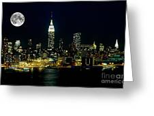 Full Moon Rising - New York City Greeting Card
