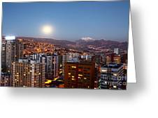 Full Moon Rising Over La Paz Greeting Card