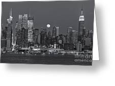 Full Moon Rising Over New York City IIi Greeting Card