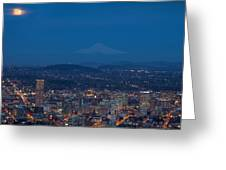Full Moon Rising Over Portland Cityscape Greeting Card