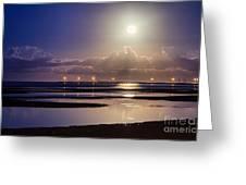 Full Moon Rising Over Sandgate Pier Greeting Card