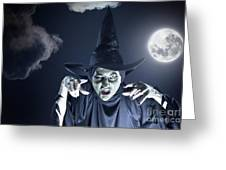 Full Moon Witch Greeting Card