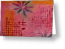 Fun Flowers In Pink And Orange 1 Greeting Card