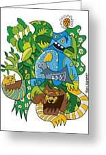 Funky Animals Nature Doodle Greeting Card
