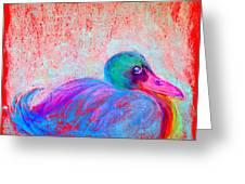Funky Duck In Snowfall Greeting Card