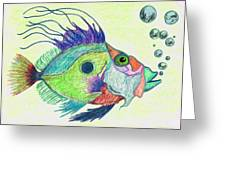 Funky Fish Art - By Sharon Cummings Greeting Card