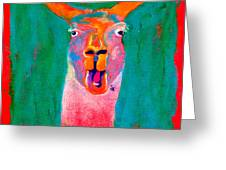 Funky Llama Art Print Greeting Card