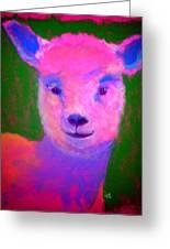 Funky Pinky Lamb Art Print Greeting Card