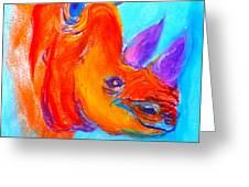 Funky Rhino African Jungle Greeting Card