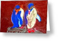 Funky Rockhopper Penguins Greeting Card