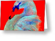 Funky Swan Blue On Red Greeting Card