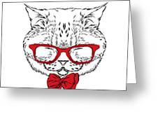 Funny Cat In A Tie And Glasses. Vector Greeting Card