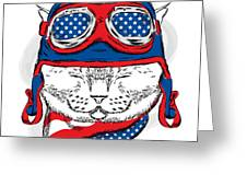 Funny Cat In The Hat And Scarf. Vector Greeting Card
