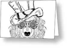 Funny Dog In An Unusual Hat And Greeting Card
