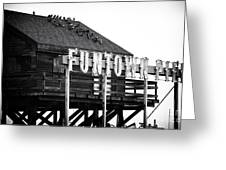 Funtown Pier Greeting Card by John Rizzuto