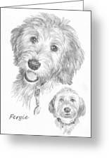 Furry Dog Friend Pencil Portrait Greeting Card