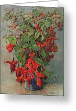 Fushia And Snapdragon In A Vase Greeting Card