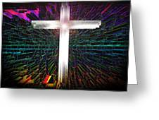 Futuristic Cross Pattern Greeting Card