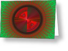 Futuristic Green And Red Tech Disc Fractal Flame Greeting Card