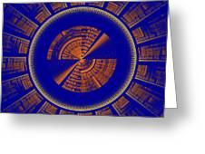 Futuristic Tech Disc Blue And Orange Fractal Flame Greeting Card
