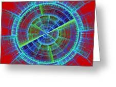 Futuristic Tech Disc Red And Blue Fractal Flame Greeting Card