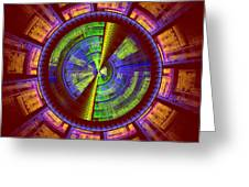 Futuristic Tech Disc Red Green And Yellow Fractal Flame Greeting Card