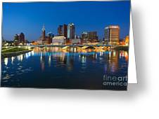 Fx2l472 Columbus Ohio Night Skyline Photo Greeting Card