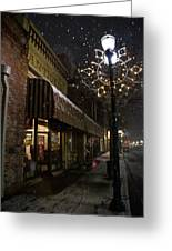 G Street Antique Store In The Snow Greeting Card