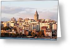 Galata Skyline 01 Greeting Card by Rick Piper Photography