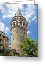 Galata Tower Landmark In Istanbul Turkey Greeting Card