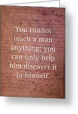 Galileo Quote Science Astronomy Math Physics Inspirational Words On Canvas Greeting Card