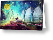 Galileo's Dream - Schooner Art By Sharon Cummings Greeting Card