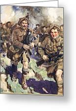 Gallant Piper Leading The Charge Greeting Card by Cyrus Cuneo