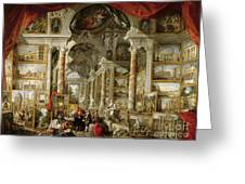 Gallery With Views Of Modern Rome Greeting Card