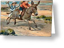 Galloping Donkey At The Beach Greeting Card
