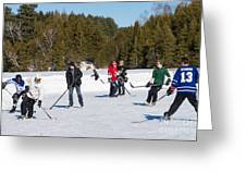 Game Of Ice Hockey On A Frozen Pond  Greeting Card