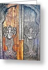 Ganesh Door Plating At The Yoga Maya Hindu Temple In New Delhi India Greeting Card
