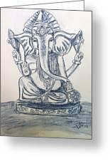 Ganesha In Blue Greeting Card