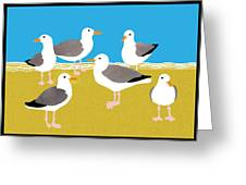Gang Of Gulls On The Beach Greeting Card