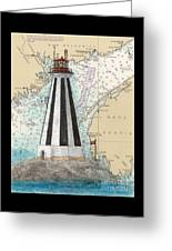 Gannet Rock Lighthouse New Brunswick Canada Nautical Chart Art Greeting Card