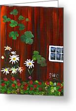 Garden At The Red Barn Greeting Card